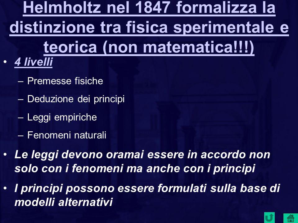 Helmholtz nel 1847 formalizza la distinzione tra fisica sperimentale e teorica (non matematica!!!)