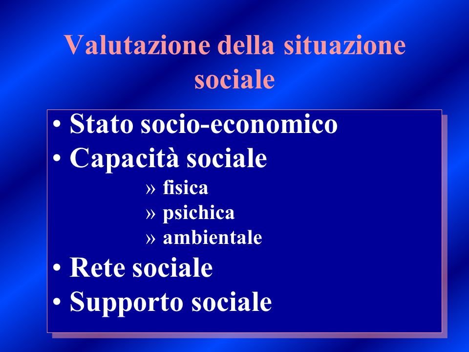 Valutazione della situazione sociale