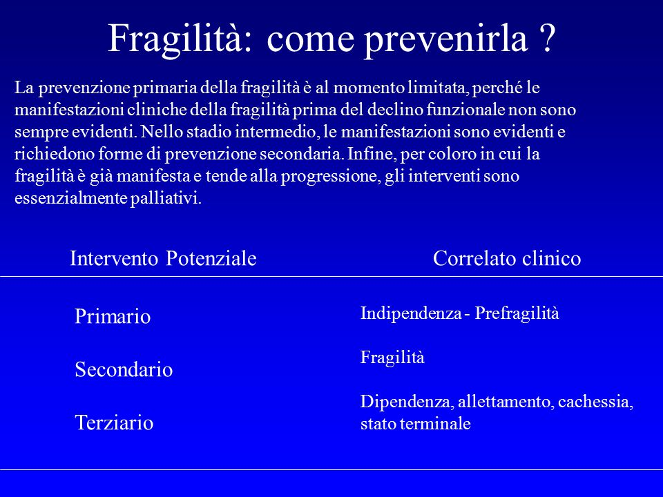 Fragilità: come prevenirla