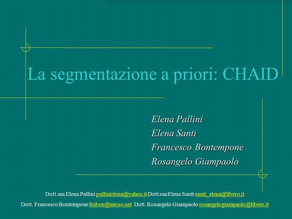 La segmentazione a priori: CHAID