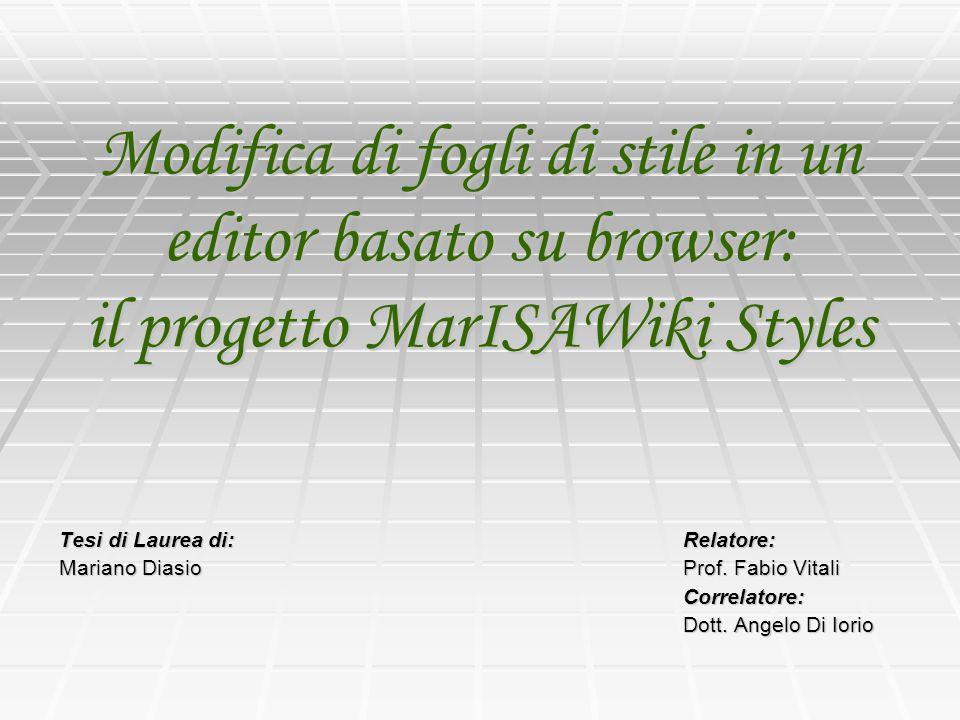 Modifica di fogli di stile in un editor basato su browser: il progetto MarISAWiki Styles