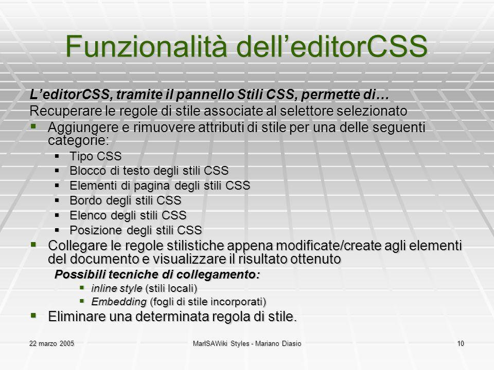 Funzionalità dell'editorCSS