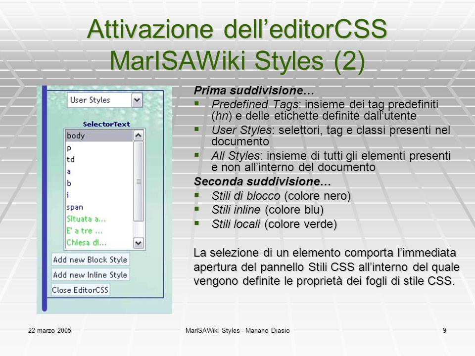 Attivazione dell'editorCSS MarISAWiki Styles (2)