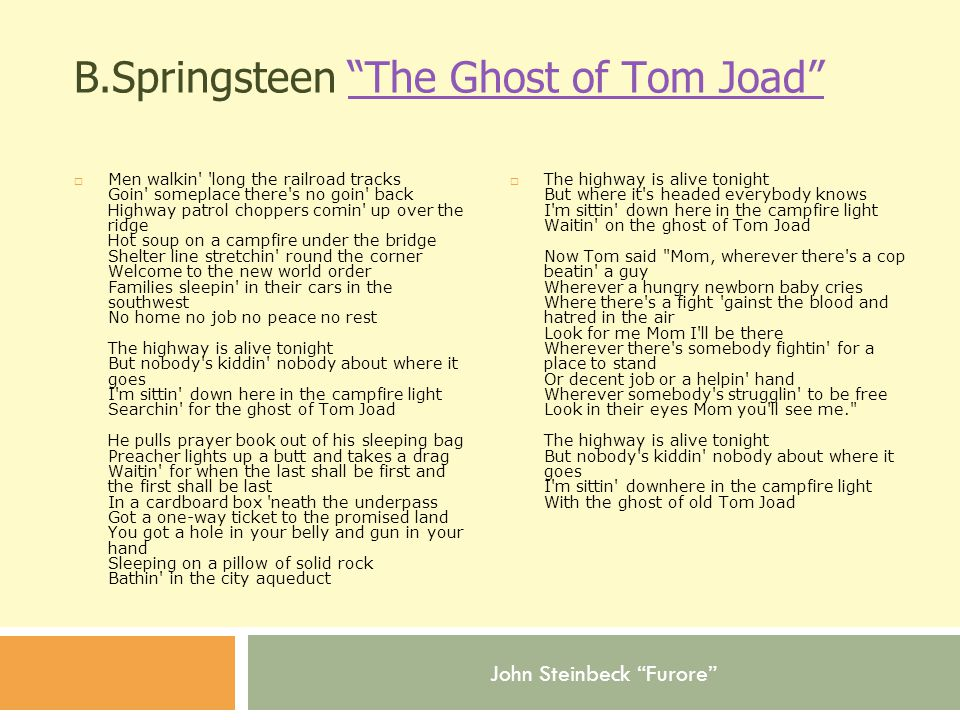 B.Springsteen The Ghost of Tom Joad