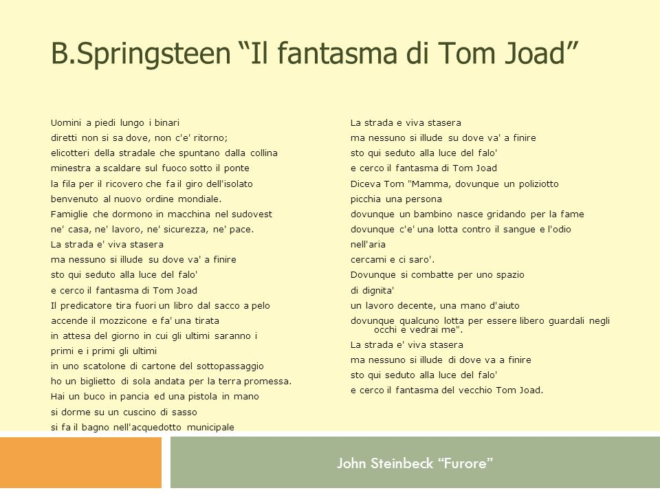 B.Springsteen Il fantasma di Tom Joad