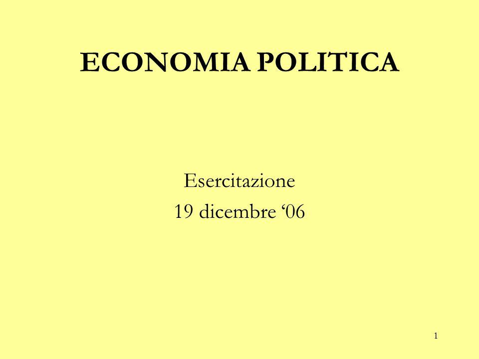 ECONOMIA POLITICA Esercitazione 19 dicembre '06
