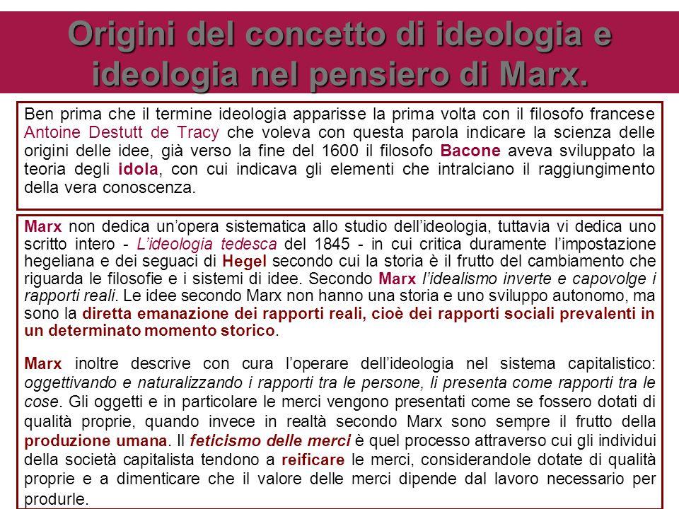 Origini del concetto di ideologia e ideologia nel pensiero di Marx.
