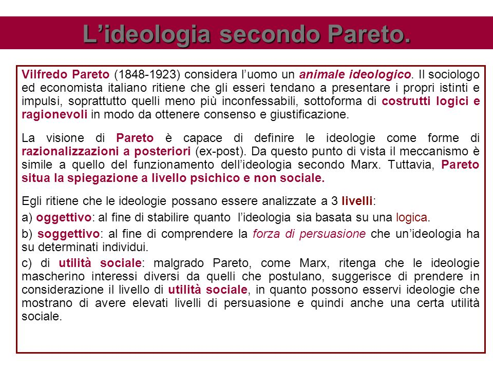 L'ideologia secondo Pareto.