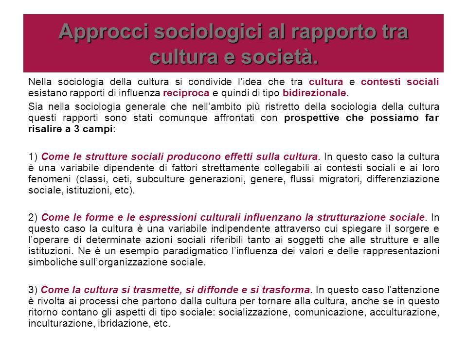 Approcci sociologici al rapporto tra cultura e società.