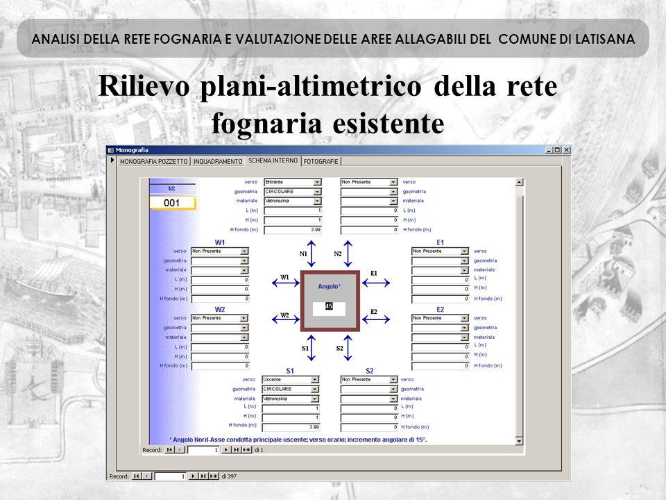 Rilievo plani-altimetrico della rete fognaria esistente