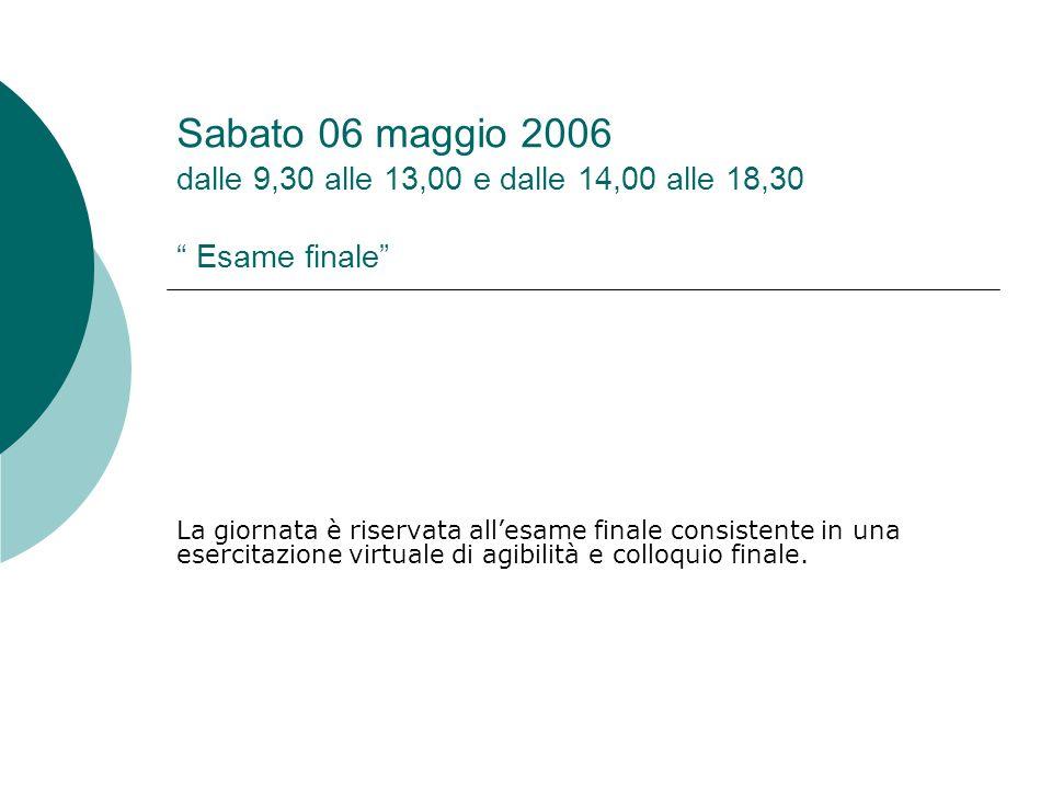 Sabato 06 maggio 2006 dalle 9,30 alle 13,00 e dalle 14,00 alle 18,30 Esame finale