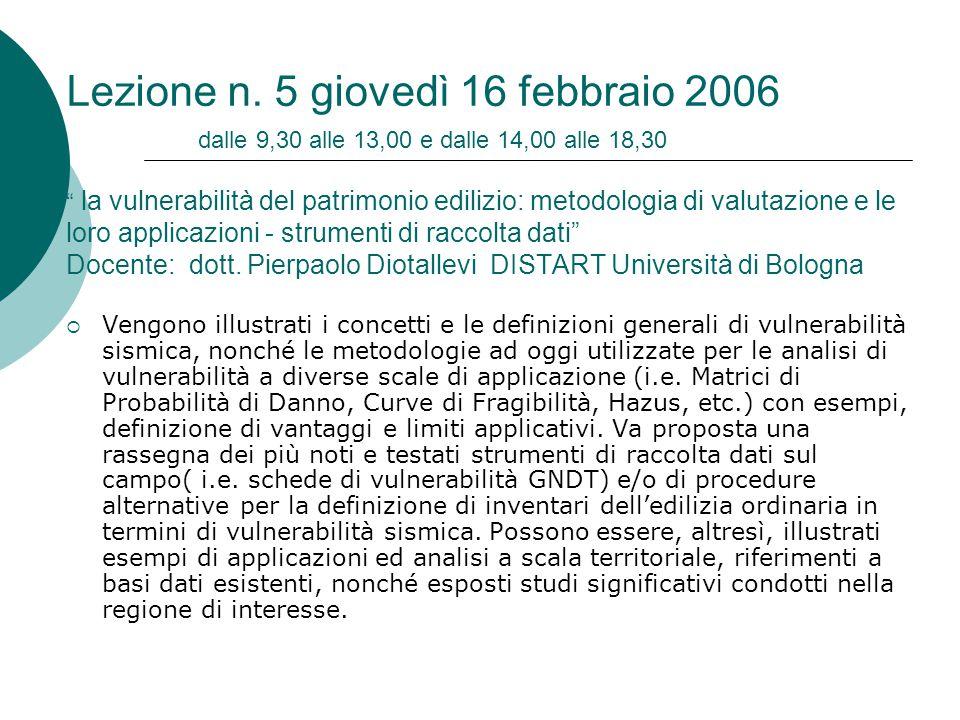 Lezione n. 5 giovedì 16 febbraio 2006 dalle 9,30 alle 13,00 e dalle 14,00 alle 18,30 la vulnerabilità del patrimonio edilizio: metodologia di valutazione e le loro applicazioni - strumenti di raccolta dati Docente: dott. Pierpaolo Diotallevi DISTART Università di Bologna