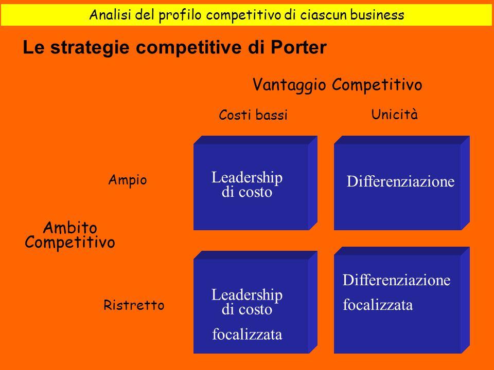 Analisi del profilo competitivo di ciascun business