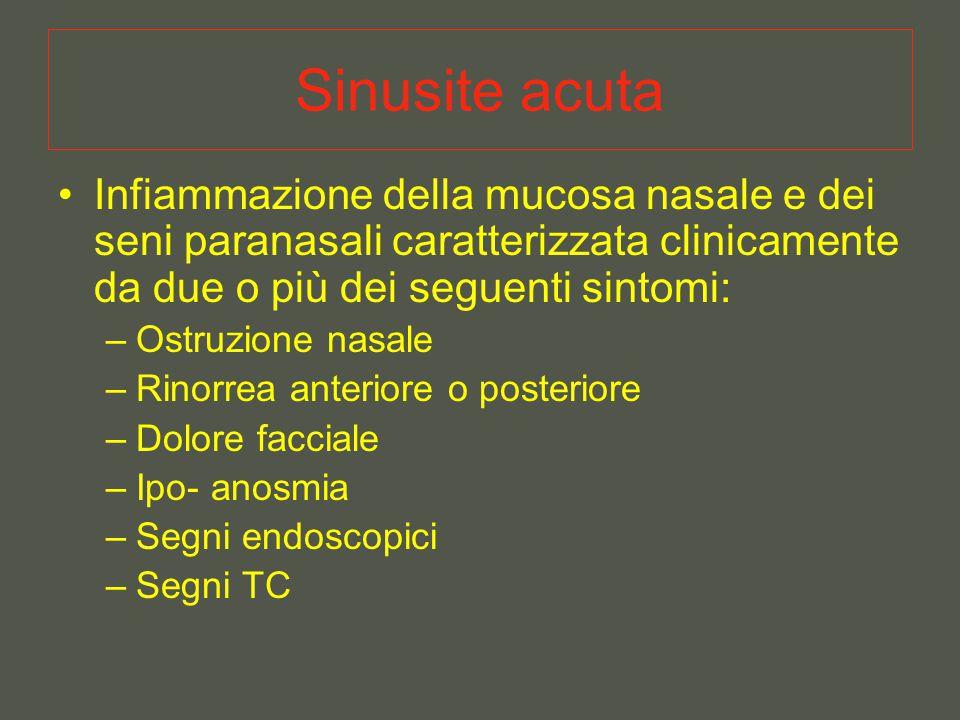 Sinusite acuta Infiammazione della mucosa nasale e dei seni paranasali caratterizzata clinicamente da due o più dei seguenti sintomi: