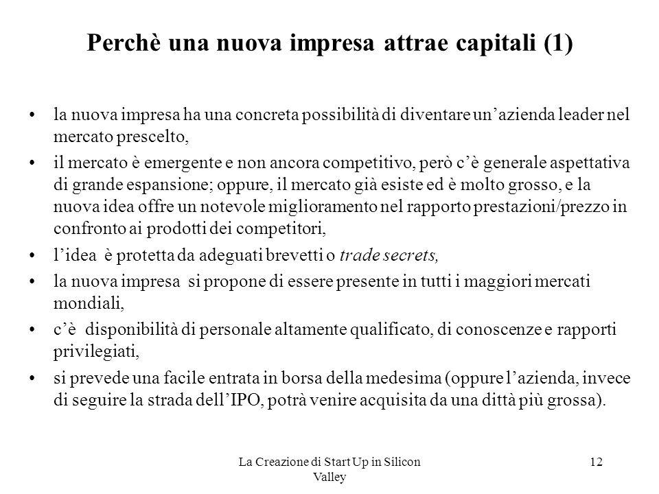 Perchè una nuova impresa attrae capitali (1)