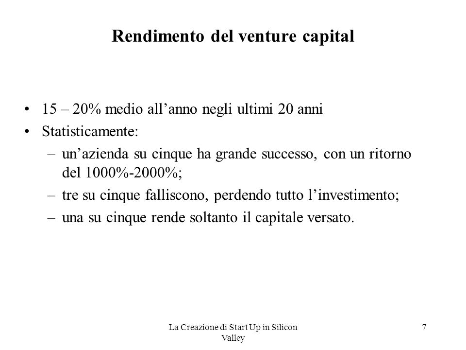 Rendimento del venture capital