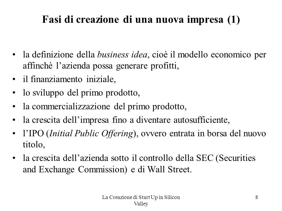 Fasi di creazione di una nuova impresa (1)