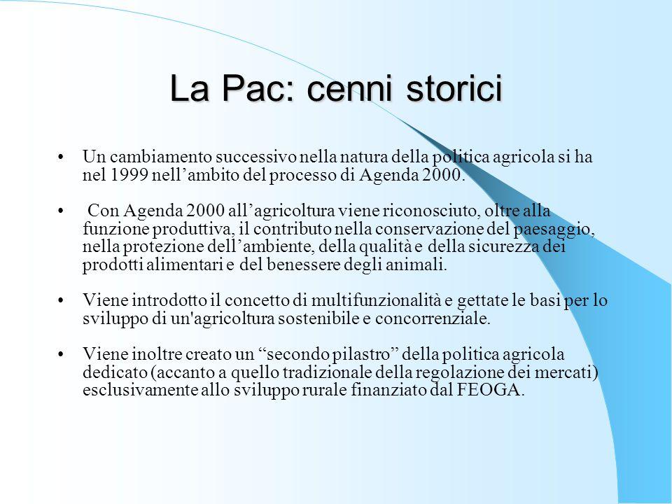La Pac: cenni storici Un cambiamento successivo nella natura della politica agricola si ha nel 1999 nell'ambito del processo di Agenda 2000.