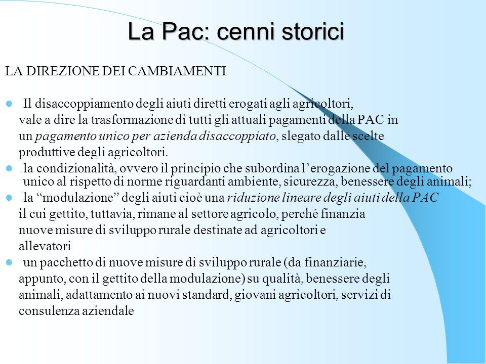 La Pac: cenni storici LA DIREZIONE DEI CAMBIAMENTI