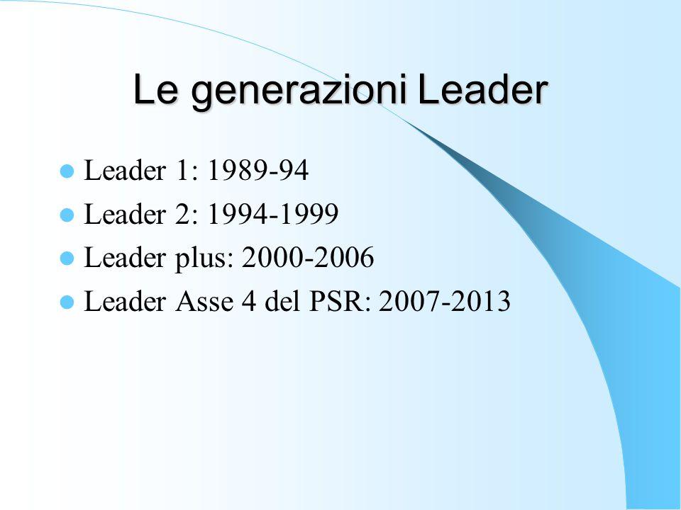 Le generazioni Leader Leader 1: 1989-94 Leader 2: 1994-1999