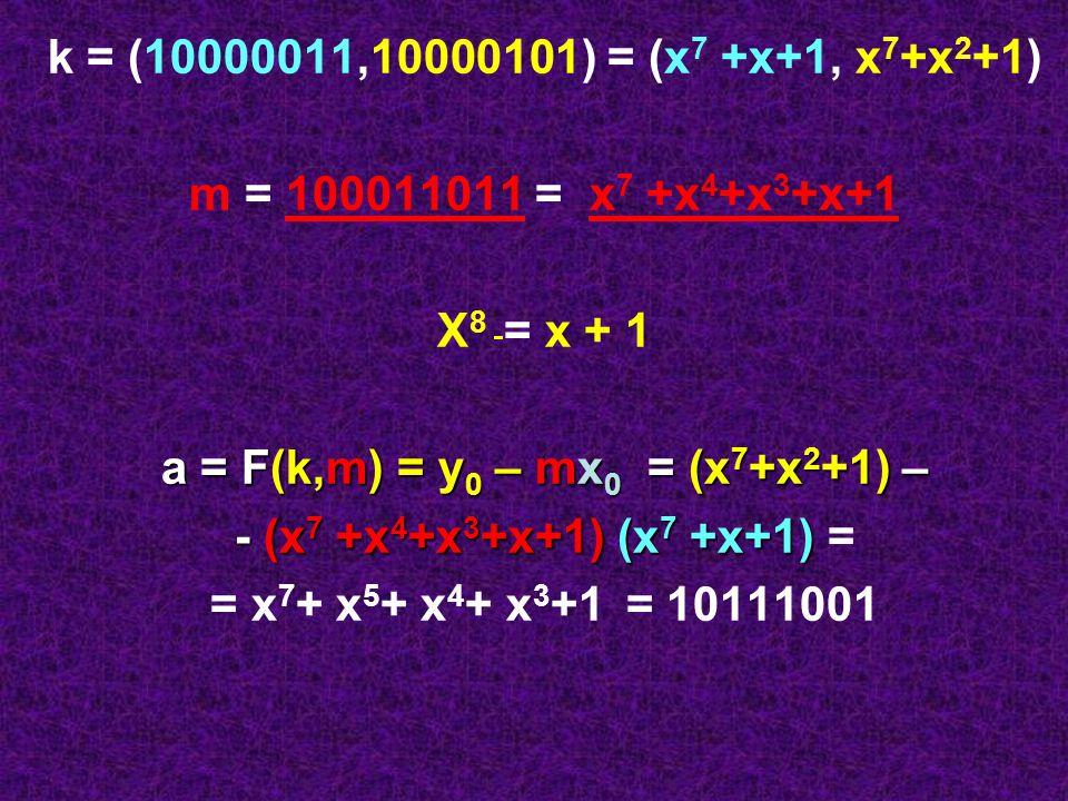 a = F(k,m) = y0 – mx0 = (x7+x2+1) –