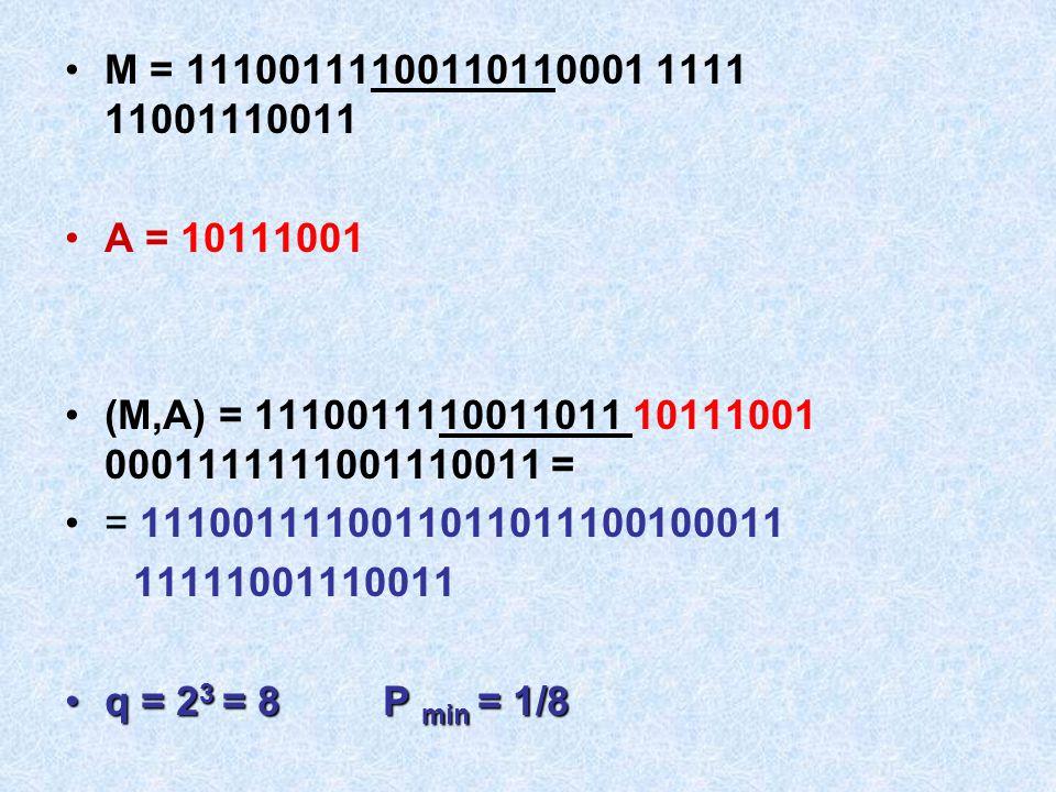 M = 11100111100110110001 1111 11001110011 A = 10111001. (M,A) = 1110011110011011 10111001 0001111111001110011 =