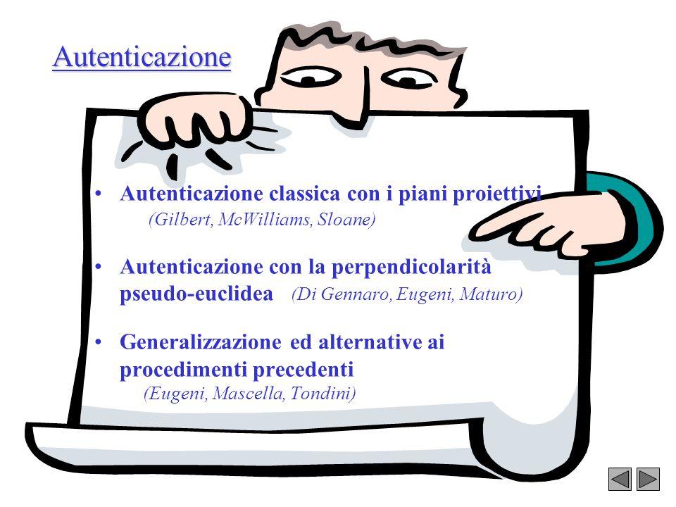 Autenticazione Autenticazione classica con i piani proiettivi (Gilbert, McWilliams, Sloane)