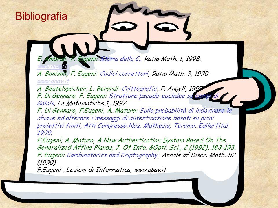 Bibliografia E. Ambrisi, F. Eugeni: Storia della C., Ratio Math. 1, 1998. www.apav.it.
