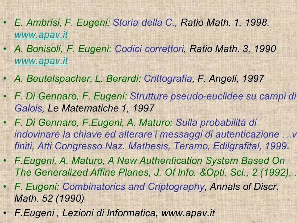 E. Ambrisi, F. Eugeni: Storia della C., Ratio Math. 1, 1998. www.apav.it