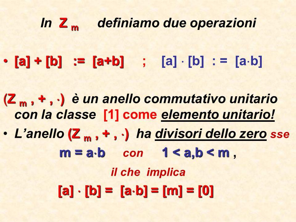 In Z m definiamo due operazioni