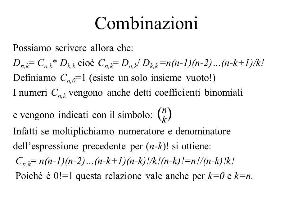 Combinazioni Possiamo scrivere allora che: