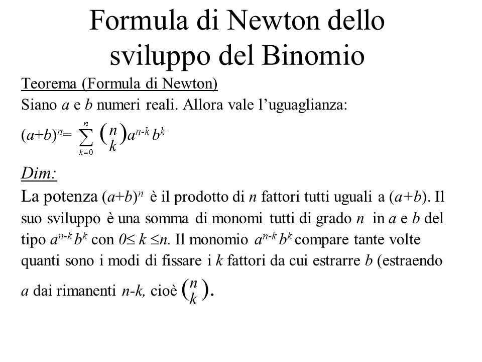 Formula di Newton dello sviluppo del Binomio