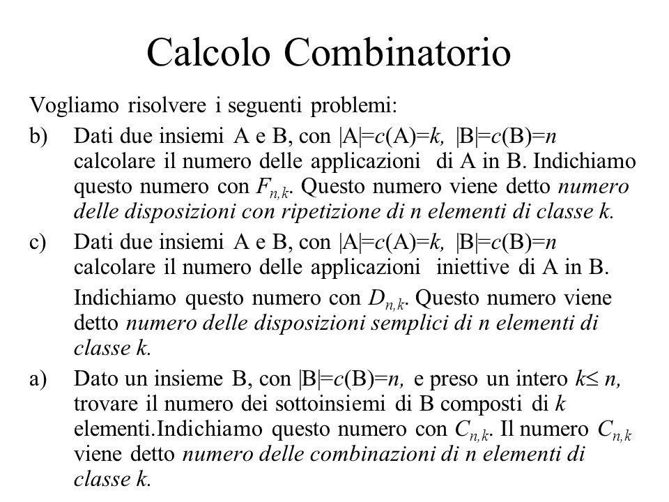 Calcolo Combinatorio Vogliamo risolvere i seguenti problemi: