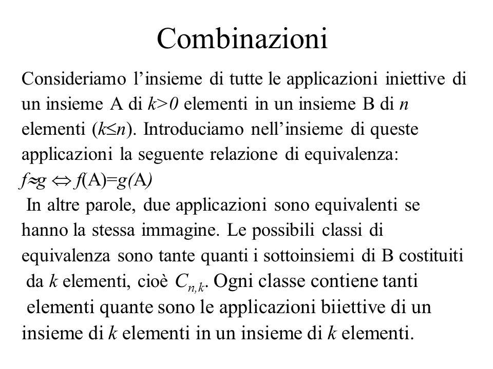 Combinazioni elementi quante sono le applicazioni biiettive di un