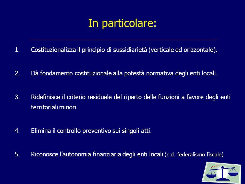 In particolare: Costituzionalizza il principio di sussidiarietà (verticale ed orizzontale).