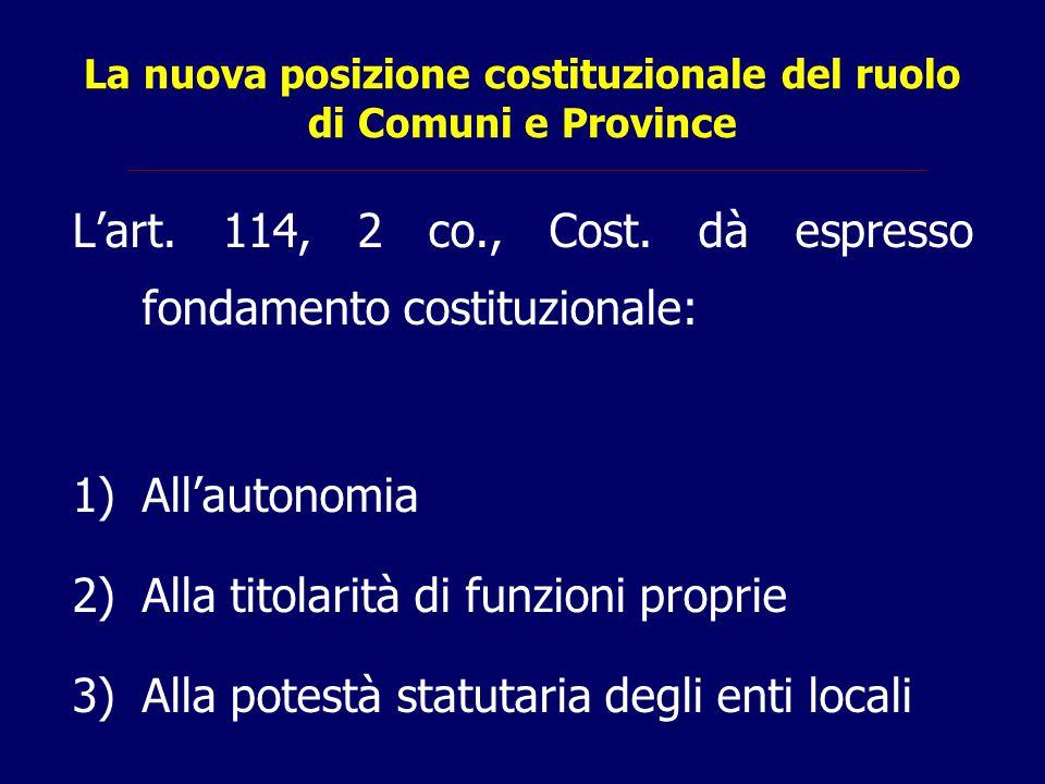 La nuova posizione costituzionale del ruolo di Comuni e Province