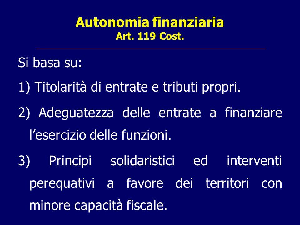 Autonomia finanziaria Art. 119 Cost.