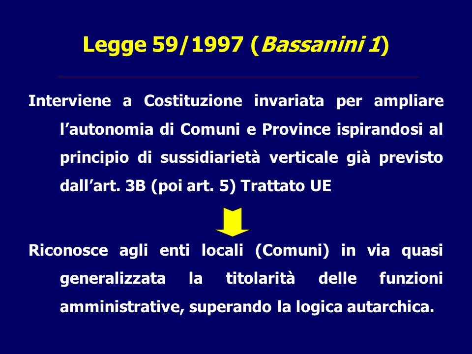 Legge 59/1997 (Bassanini 1)
