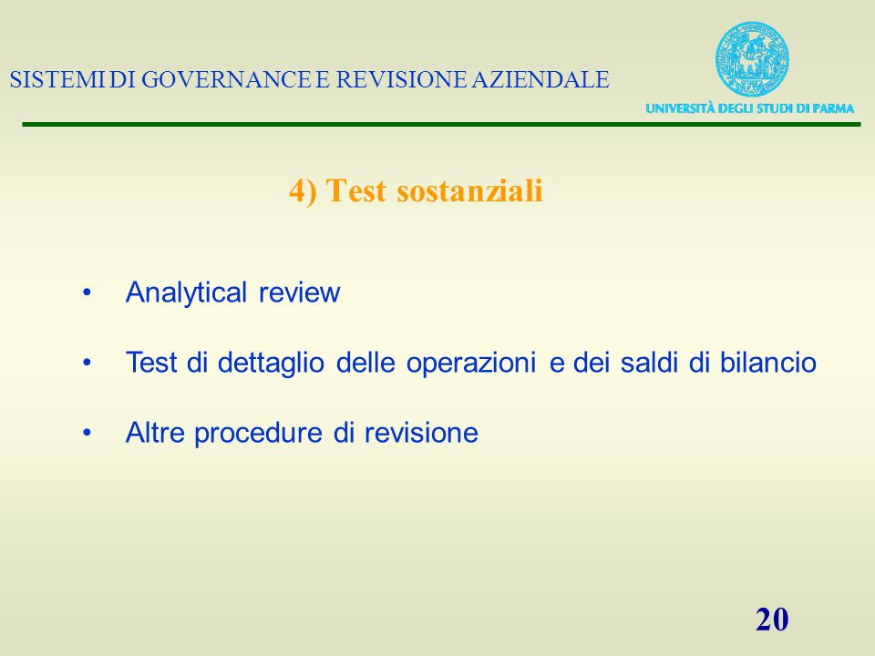 4) Test sostanziali Analytical review