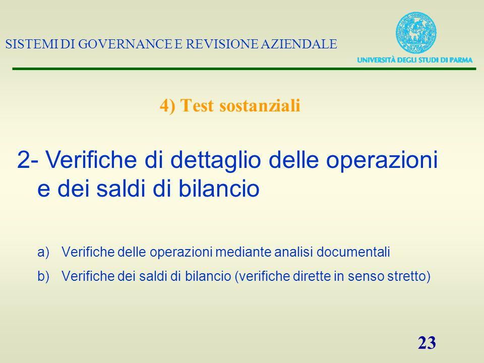 2- Verifiche di dettaglio delle operazioni e dei saldi di bilancio