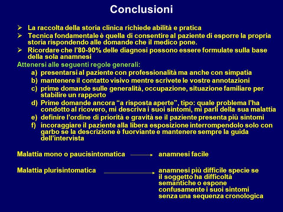 Conclusioni La raccolta della storia clinica richiede abilità e pratica.