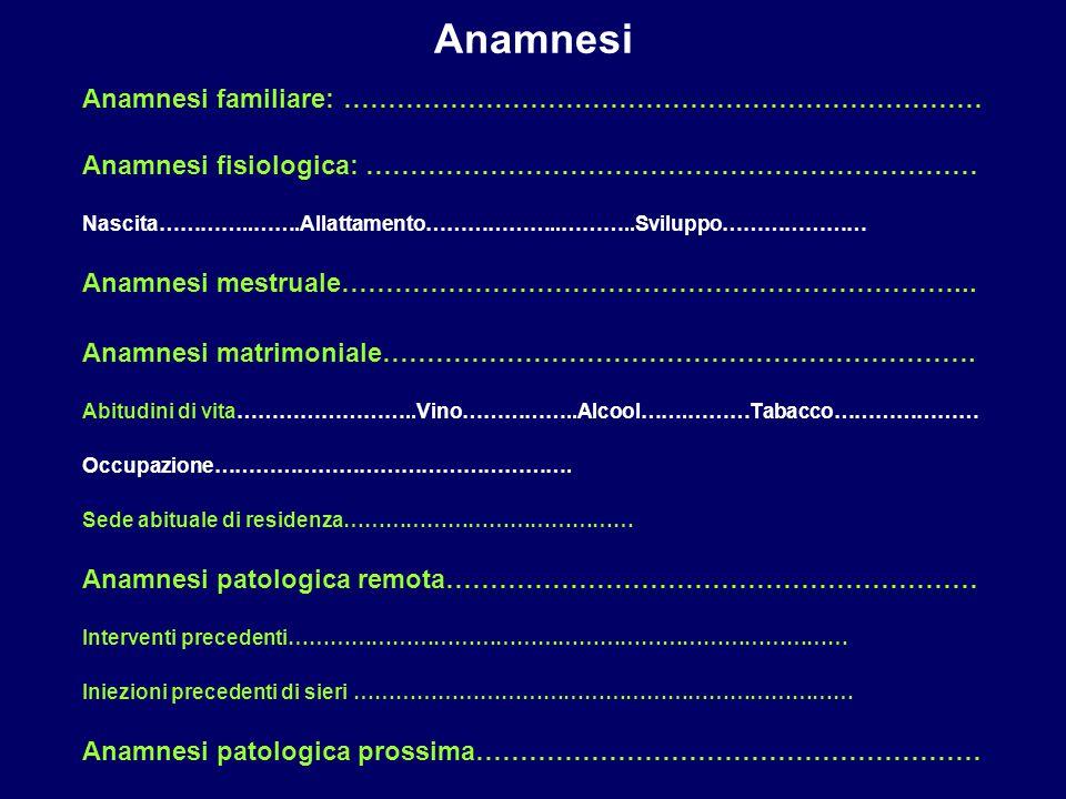 Anamnesi Anamnesi familiare: ………………………………………………………………