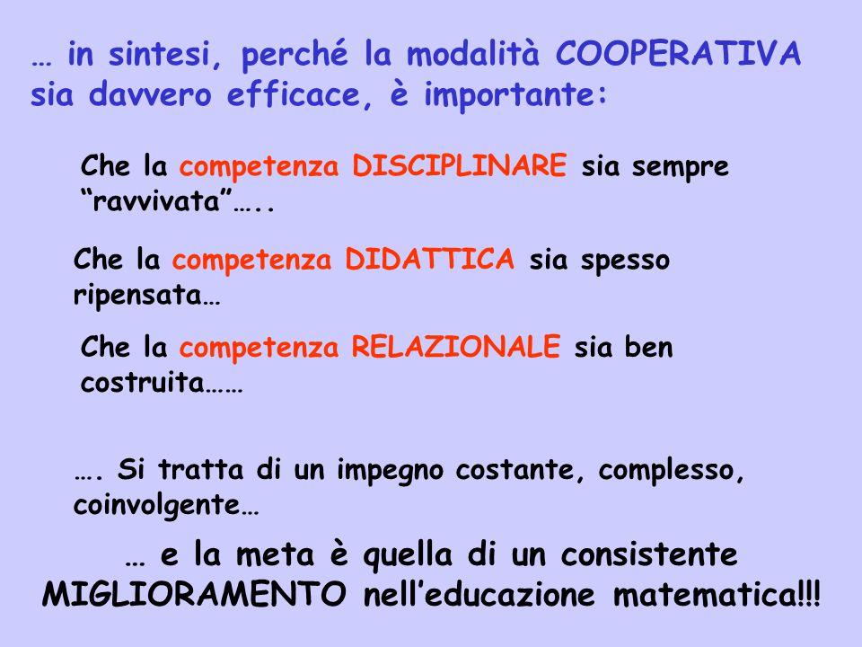 … in sintesi, perché la modalità COOPERATIVA sia davvero efficace, è importante: