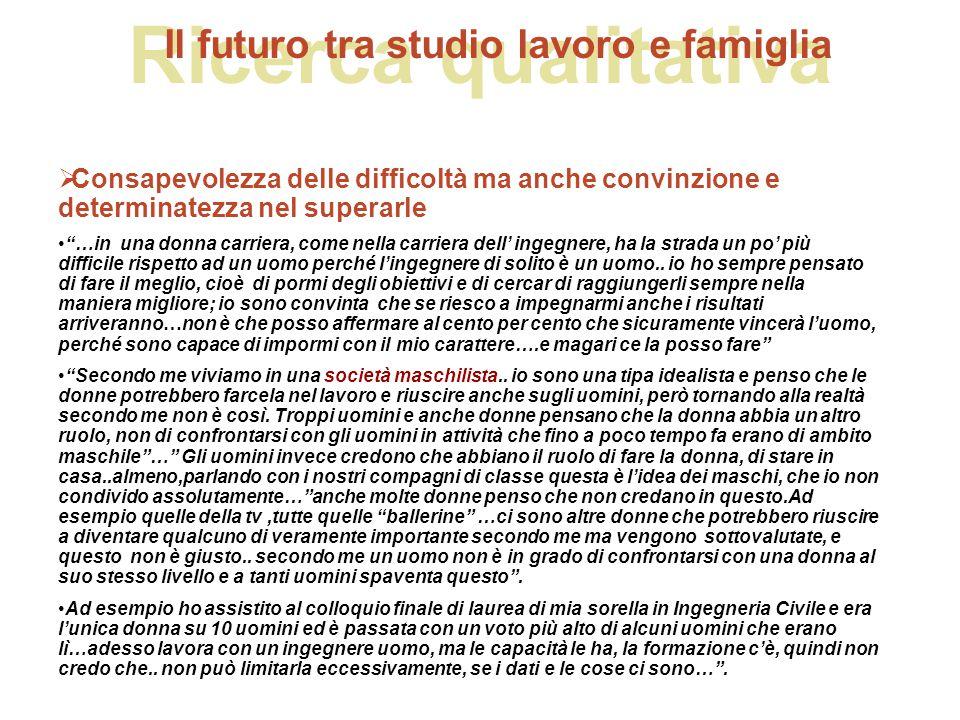 Ricerca qualitativa Il futuro tra studio lavoro e famiglia