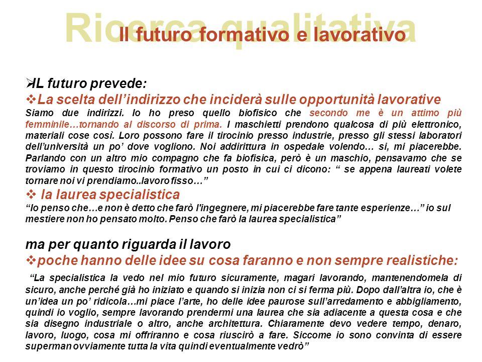 Ricerca qualitativa Il futuro formativo e lavorativo