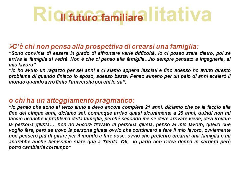 Ricerca qualitativa Il futuro familiare