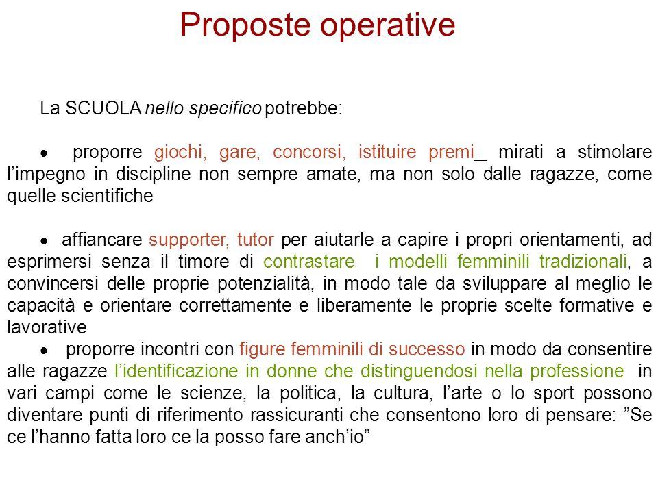 Proposte operative La SCUOLA nello specifico potrebbe: