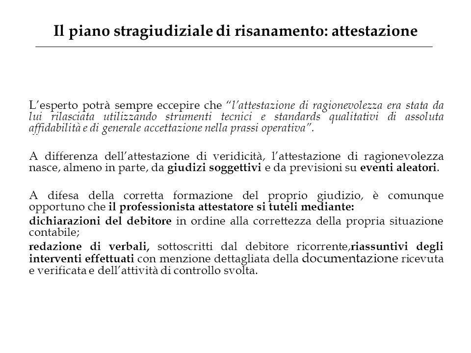Il piano stragiudiziale di risanamento: attestazione