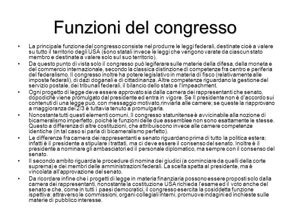 Funzioni del congresso