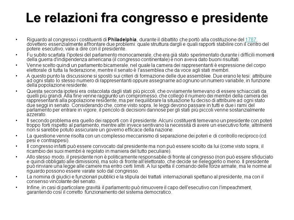 Le relazioni fra congresso e presidente
